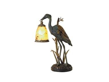 Maitland-Smith Lamps and Lighting Verdigris Patina Brass Crane Decorative Lamp
