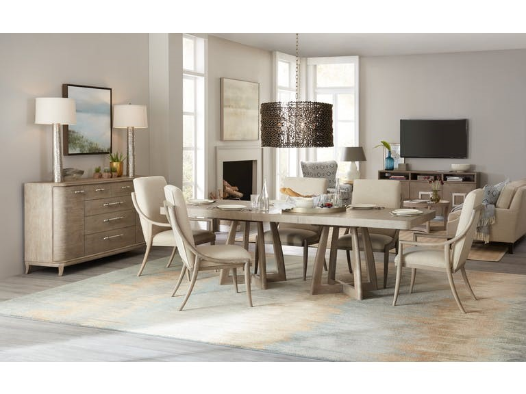 Hooker Furniture Dining Room Affinity 78in Rectangle Pedestal Dining Table w2-18in Leaves: Here's one moment when the fireplace has receded to the background to pave the way for the more interesting design elements inside the living room.