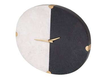 Maitland-Smith Accessories Black Waxstone And White Agate Stone Mona Wall Clock With Satina Brass Accent