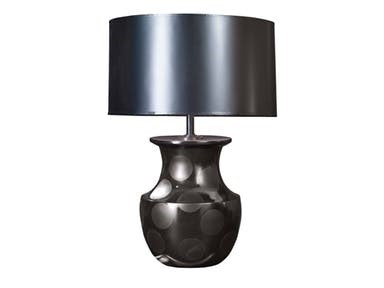 Maitland-Smith Lamps and Lighting Black Gloss And Matte Finished Cast Resin Urn Shaped Table Lamp, Black Silk Shade 1746-576