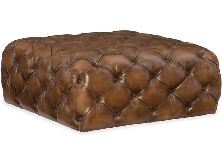 Imagine this Hooker Furniture Living Room Ethan Square Ottoman sitting inside your rustic straw bale home.